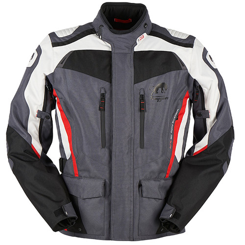 Furygan Apalaches Waterproof Textile Motorcycle Jacket Black Grey Red