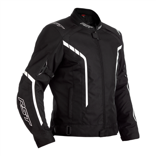 RST 2364 Axis CE Mens Waterproof Textile Motorcycle Jacket Black White