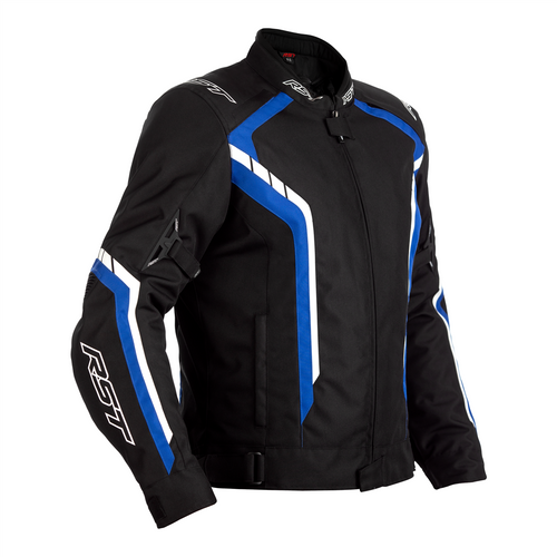 RST 2364 Axis CE Mens Waterproof Textile Motorcycle Jacket Black Blue White