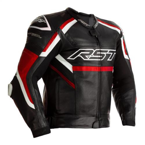 RST Tractech Evo R Leather Motorcycle Racing Sport Jacket 2461 Black Red