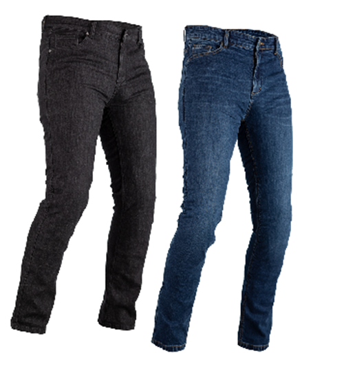 RST Made with Kevlar Tapered-Fit CE Mens Motorcycle Jeans Regular Black & Blue
