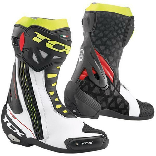 TCX RT-Race Motorcycle Boots Road Race Boots WHITE RED YELLOW Ce Approved