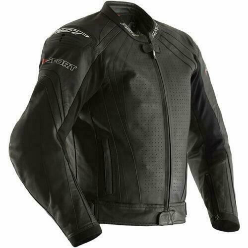 RST R-Sport CE Mens Leather Motorcycle Jacket Black 2255 - Removable Liner Ce AA