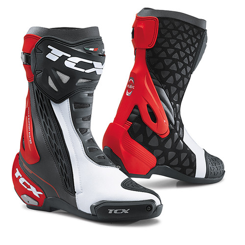 TCX RT-Race Motorcycle Boots Road Race Boots Black White Red