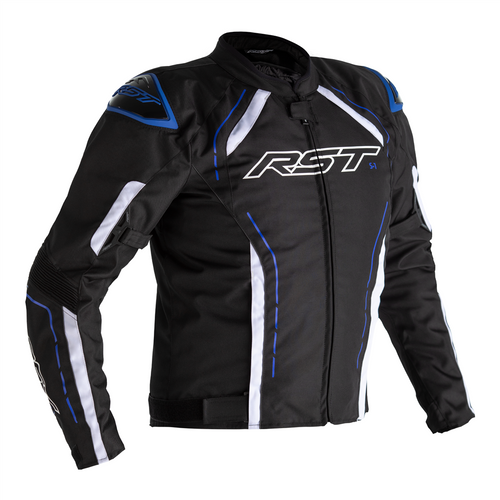 RST S-1 Motorcycle Jacket Textile Sports Waterproof Black Blue White 2559 CE