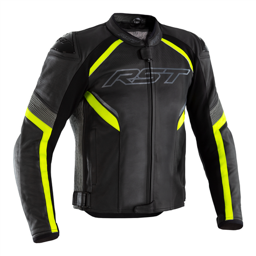 RST Sabre Airbag Motorcycle Motorbike Jacket Leather Black Yellow CE AAA 2529