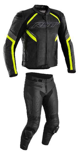 RST Mens Sabre Airbag Leather Two Piece Motorcycle Jacket & Trousers Flo Yellow