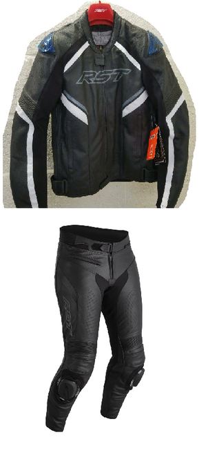RST Mens Sabre Airbag Leather Two Piece Motorcycle Jacket & Trousers Black White