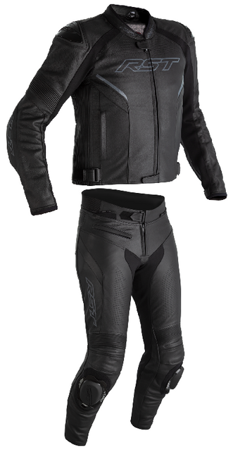RST Mens Sabre Airbag Leather Two Piece Motorcycle Jacket and Trousers Black