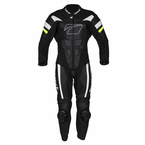 Spada Curve Evo Leather Motorcycle One Piece Suit Black White Flo Yellow