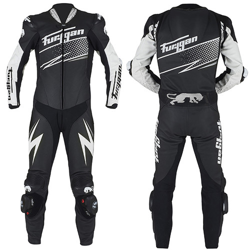 Furygan Full Ride One Piece Leather Motorcycle Race Suit Black White Silver