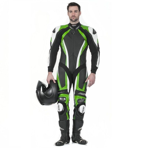 RST PRO SERIES CPX-C 1033 ONE PIECE MOTORCYCLE RACE LEATHERS GREEN UK 42 SALE!!!