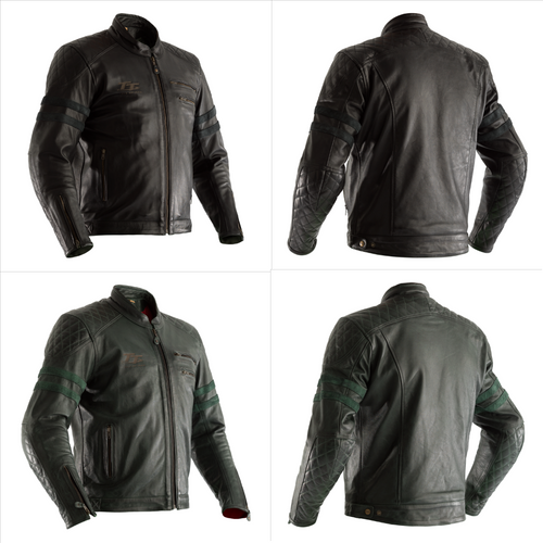 RST Hilberry Classic Retro Isle of Man TT Leather Motorcycle Jacket 2232 - CE