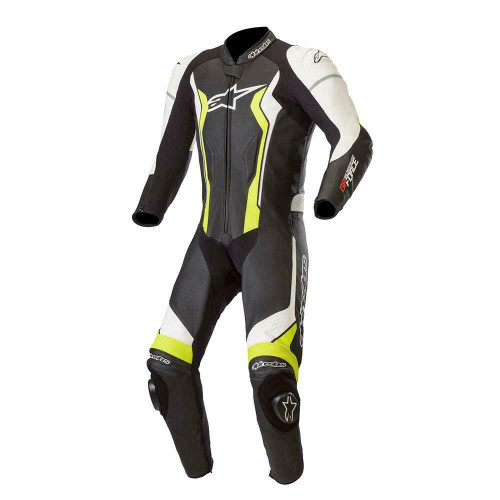 Alpinestars GP Force Leather Motorcycle One Piece Suit Black White Fluo Yellow