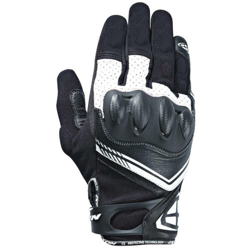 Ixon RS Drift Motorcycle Gloves Textile & Leather Black White Ce approved