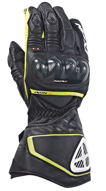 Ixon RS Circuit HP Leather Motorcycle Race Gloves Black Flo Yellow SALE Last Few