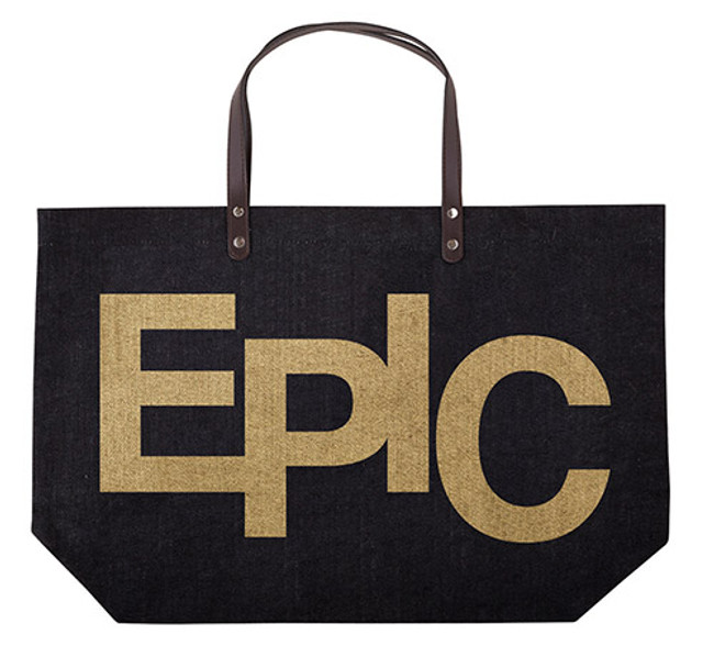 Large Jute Bag with Leatherette Handles - Epic Goltone in Black, Jute Tote Bag