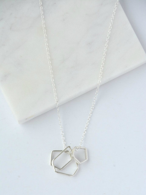Geometric Dangle Necklace, Silver Pendant Necklace