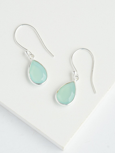Aqua Chalcedony Silver Raindrop Earrings