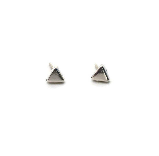 Tiny Triangle Sterling Silver Stud Earrings, Small Silver Studs