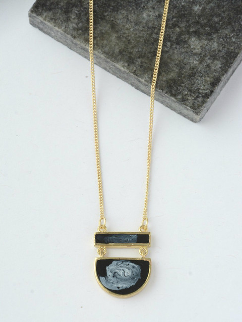 Midnight Pendant Necklace, with Handcrafted Black Pendant