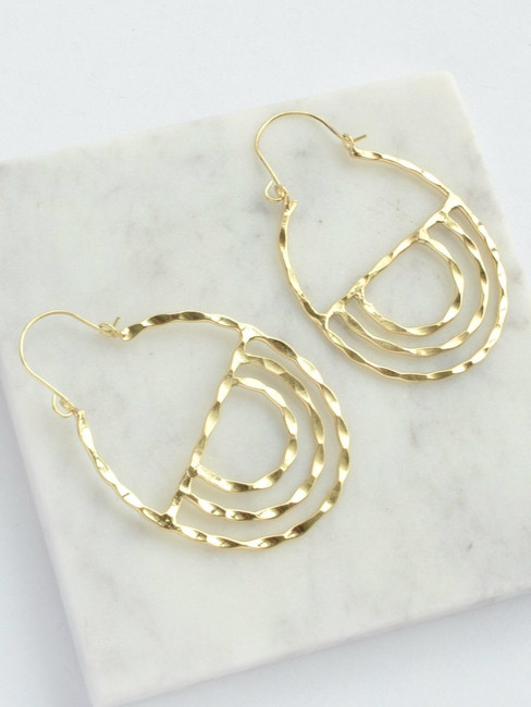 Golden Altar Hoop Earrings, Fair Trade Gold Finish Earrings