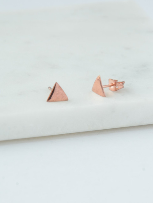 Tiny Rose Gold Triangle Stud Earrings, Small Rose Gold Studs