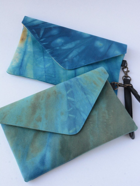 Ocean Waves Tie Dye Clutch, Fair Trade Organic Fabric Clutch