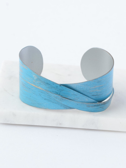Blue Twist Cuff, Fair Trade Blue Bracelet
