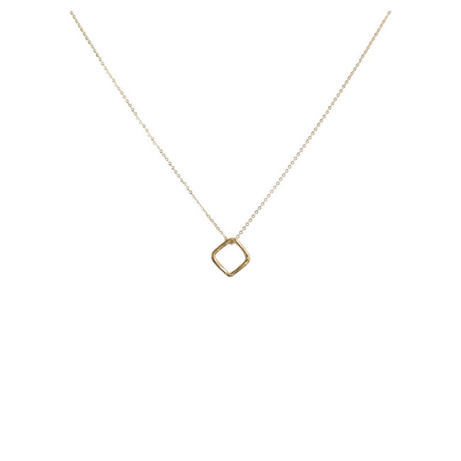 Floating Diamond Shape Gold Pendant Necklace