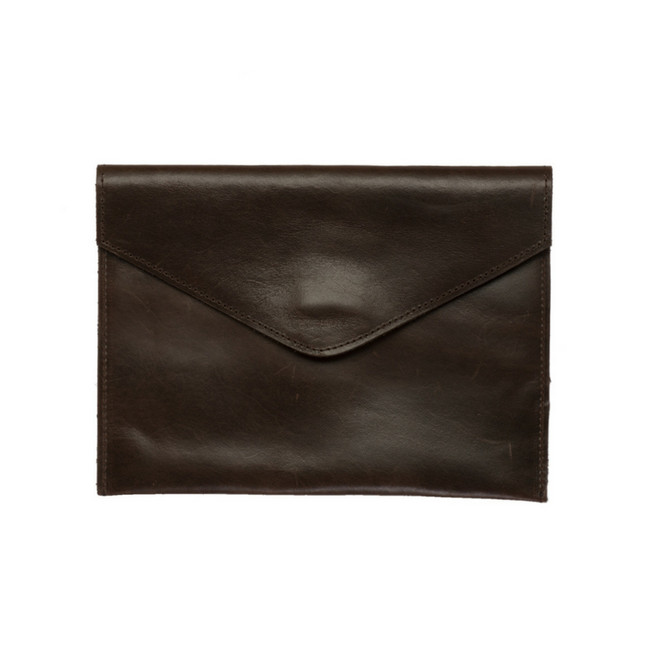 Envelope Leather Clutch - Mocha Color