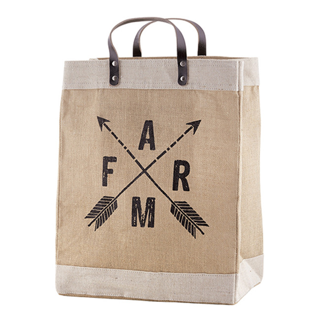 Jute Market Tote - Farm with Arrows Jute Bag, Shopping Tote