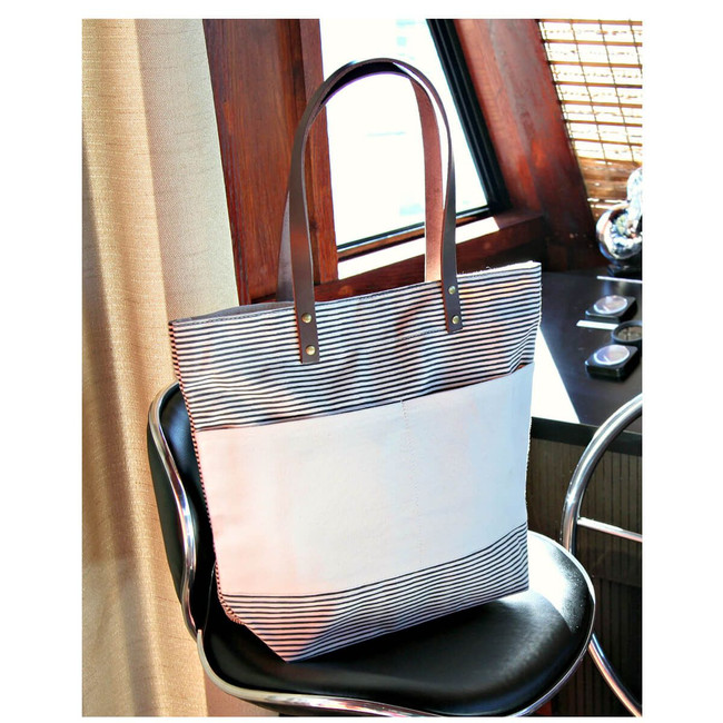 Casual Gray Tote Bag, Canvas Handbag