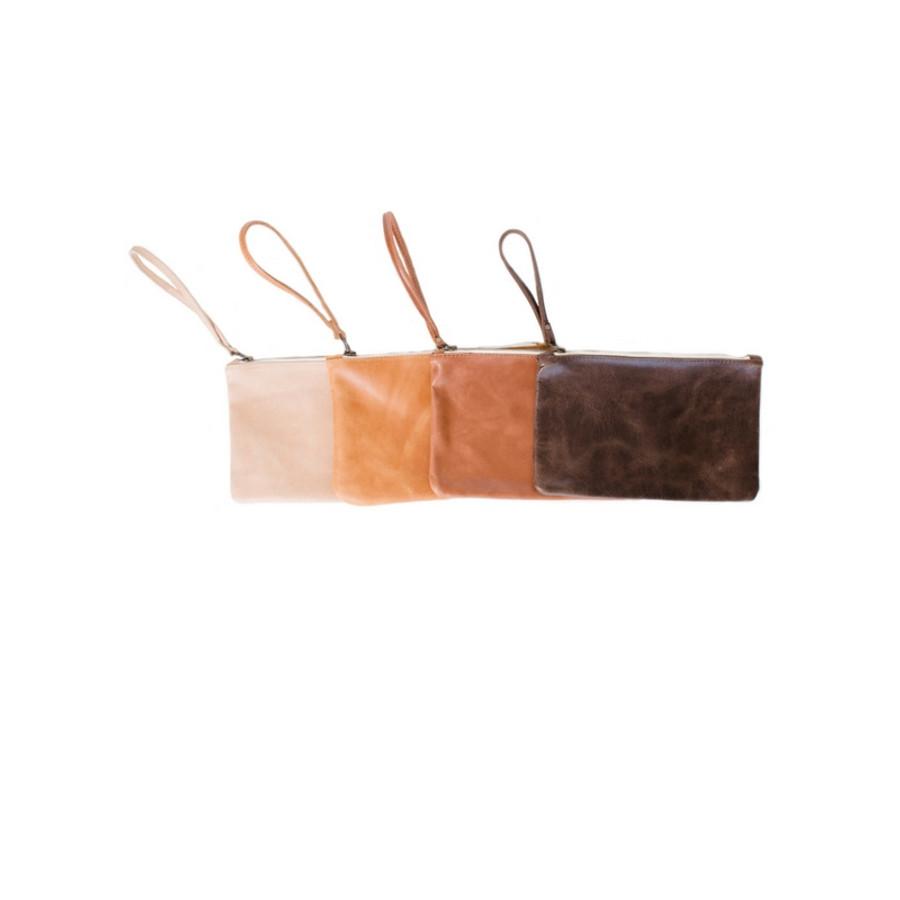 Leather Wristlet Wallet - Sand Color Wristlet Purse