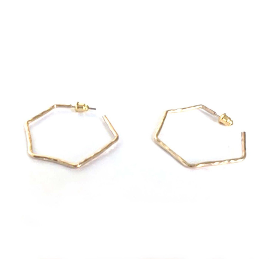Rothschild Giraffe Earrings - Gold Hammered Hoop Earrings