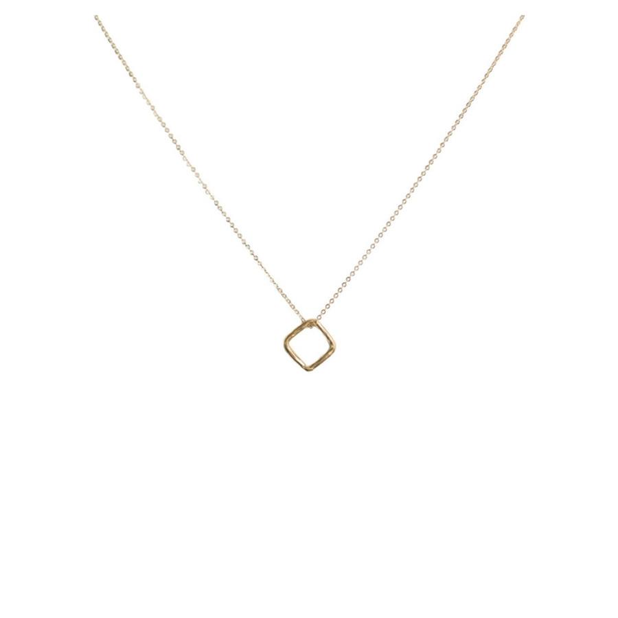 Floating Diamond Shape Gold Pendant Necklace