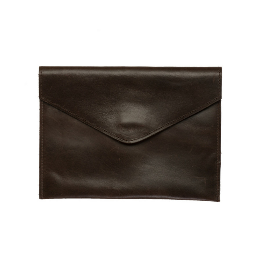 Envelope Leather Clutch - Mocha Color