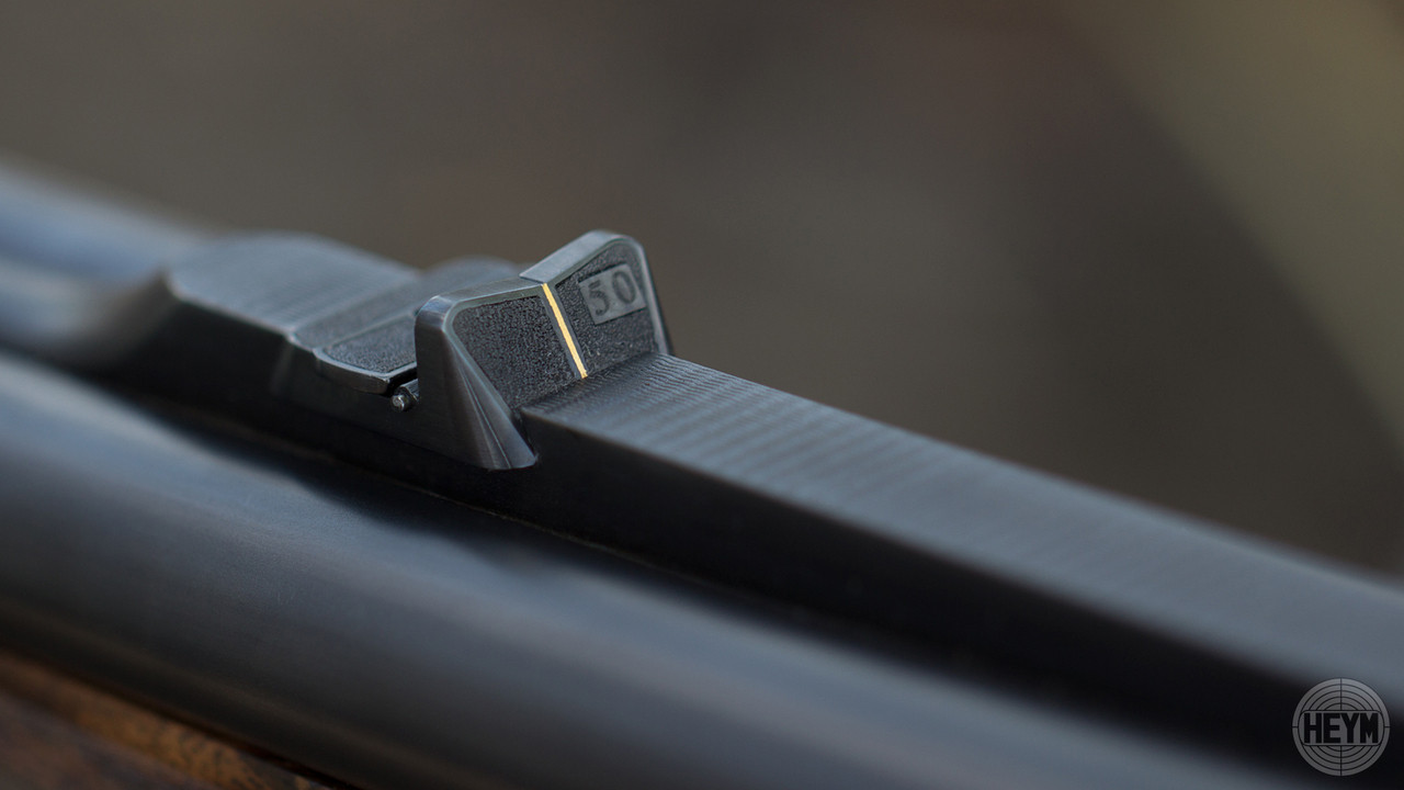The hand-hand engraved rear sight features a gold line for fast sight acquisition and stippled surfaces to reduce glare. Standard on the Model 89B and optional on the Model 88B.