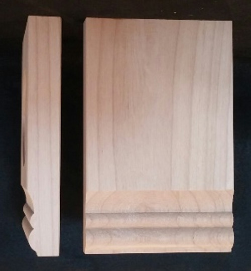 Plinth block with 2 bead edge.  Solid wood - alder.  Classic look for your baseboards, moldings, and window casings