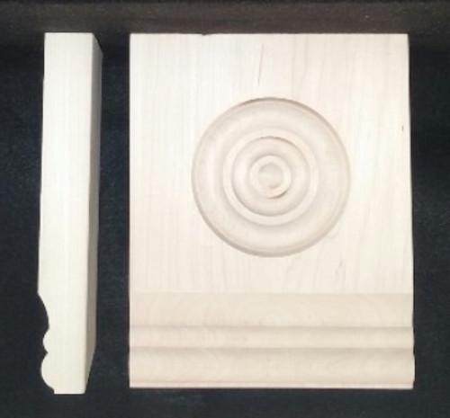 "Victorian Tear Drop plinth block, 2 bead design with 3 1/4"" bulleye.  Poplar.  Height 7 3/4"".  Depth 1 1/16"".  Width 4 1/2"" up to 6 1/4""."