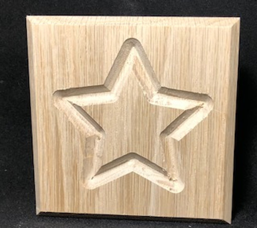 Rossete, star design with bevel edge, oak