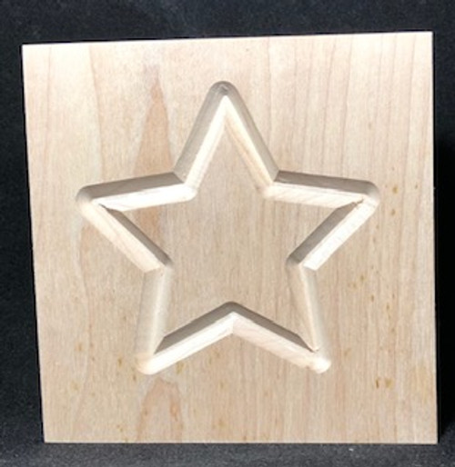 Rosette with star design and square edge, shown in maple