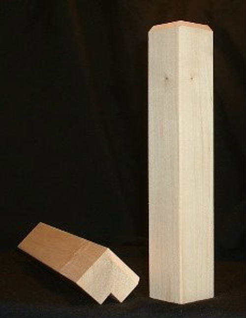 Maple outside cornerblock with beveled edge
