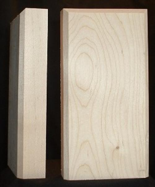 Maple plinth block, beveled edge