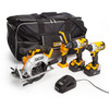 JCB 18V 4 Piece Kit, Combi Drill, Impact Driver, Circular Saw, Lamp, (2 x 5.0Ah Batteries), Charger and Large Kitbag - 4