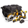 JCB 18V 5 Piece Kit, Combi Drill, Impact Driver, Circular Saw, Multi-Tool, Lamp, (2 x 5.0Ah Batteries), Charger and Large Kitbag - 1