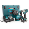 Makita DLX2268TJ 18V LXT Brushless Twin Pack - DTW285Z Impact Wrench + DHR242Z Rotary Hammer (2 x 5.0Ah Batteries) - 2