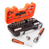 "Bahco S330 Socket Set with Metric Hex Profile and Ratchet 1/4"" and 3/8"" Square Drive (34 Piece) - 2"