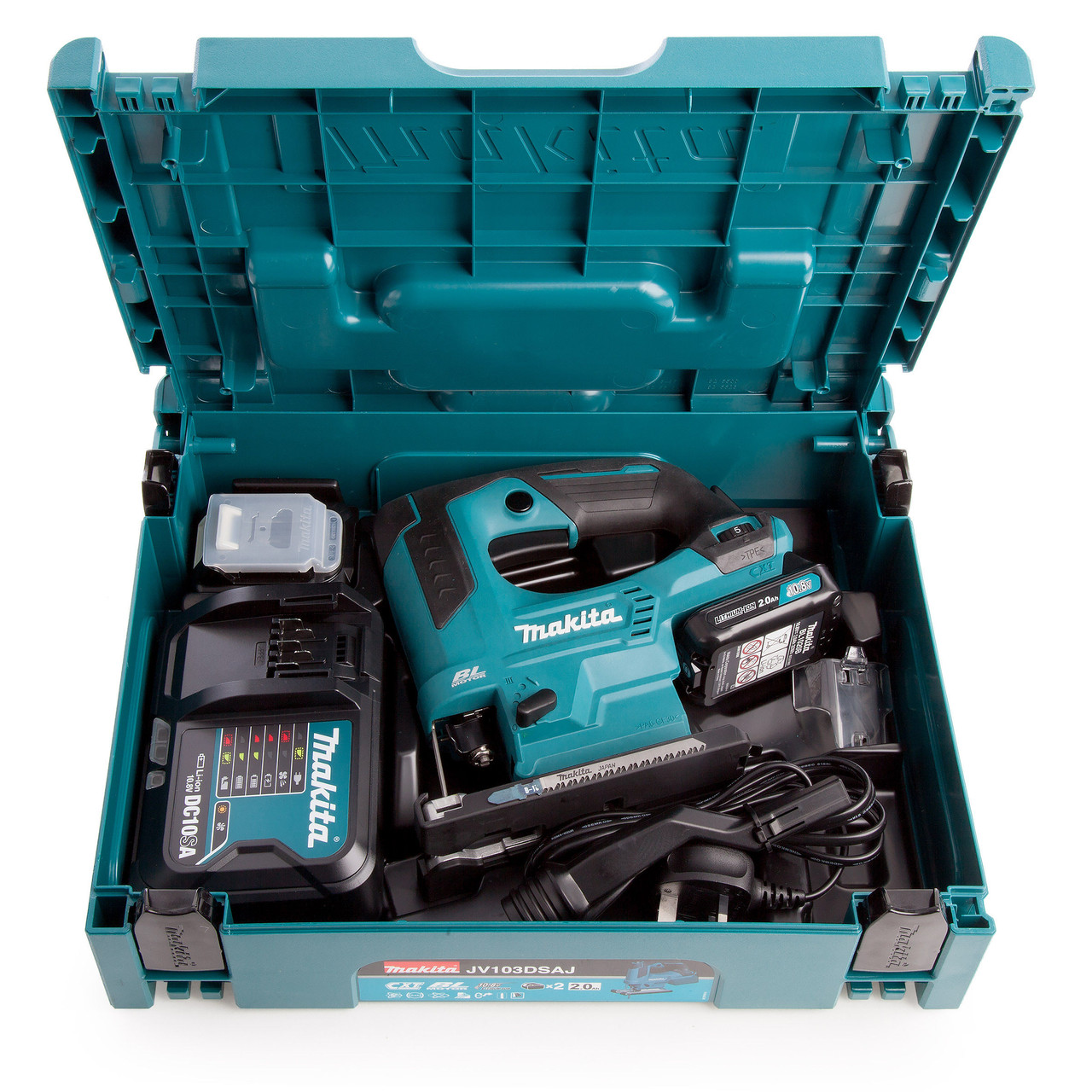 Makita JV103DSAJ 10.8V Li-ion CXT Brushless Jigsaw 2 x 2.0Ah Batteries in MakPac Case