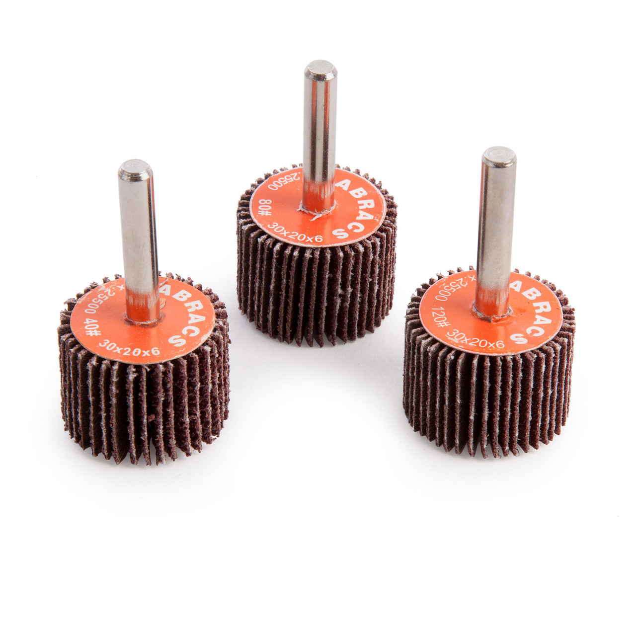 x 10 6MM SPINDLE SPINDLE MOUNTED SANDING FLAP WHEELS 25MM x 15MM x 80 GRIT